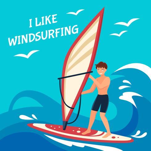 Windsurfen achtergrond afbeelding vector