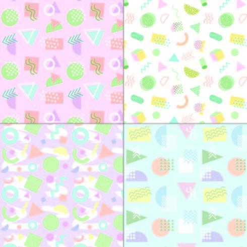 Memphis stijl pastel naadloze patronen vector