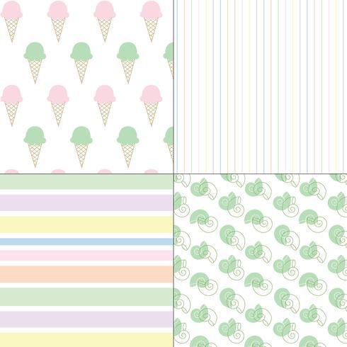 ijs schelpen en strepen pastel naadloze patronen vector