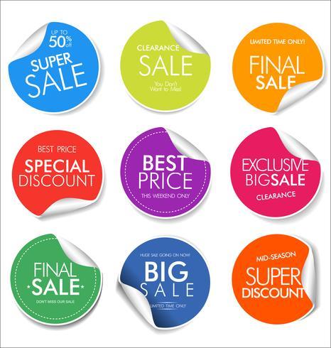 Verkoop banner sjablonen ontwerp en speciale aanbieding tags collectie vector