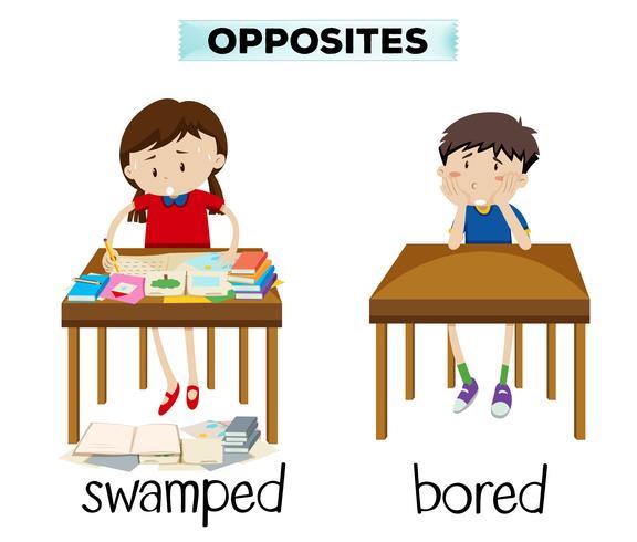 Engels tegenovergesteld woord van overspoeld en overladen vector