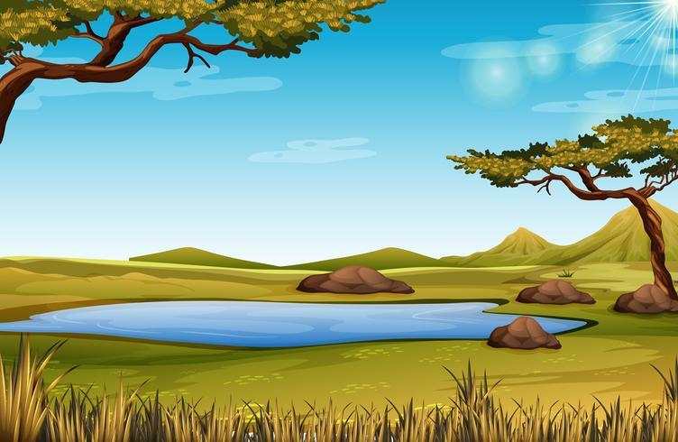 Een savanne-natuurtafereel vector