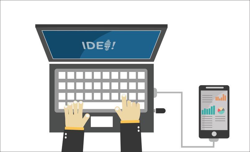 handen houden apparaat elektronica gadget concept vector