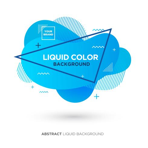 Abstracte vloeistofblauwe kleurenbanner met lijnkader en merkplaatsembleem vector