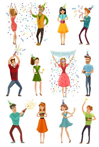 Verjaardagsfeestje viering grappige mensen instellen vector