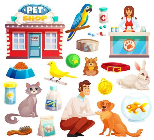 Dierenwinkel decoratieve pictogrammen instellen vector