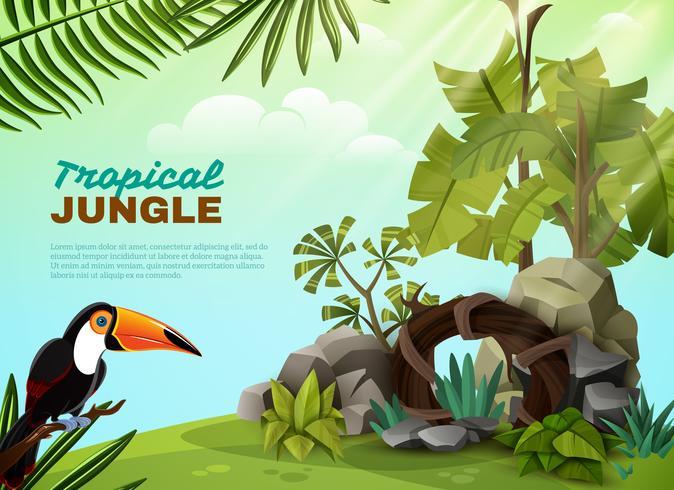Tropische Jungle Toekan Tuin Samenstelling POster vector