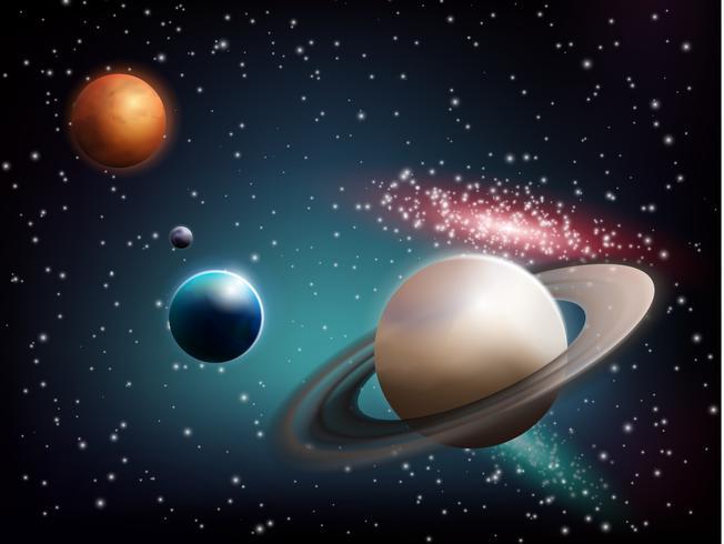 Planet Set Realistische samenstelling vector
