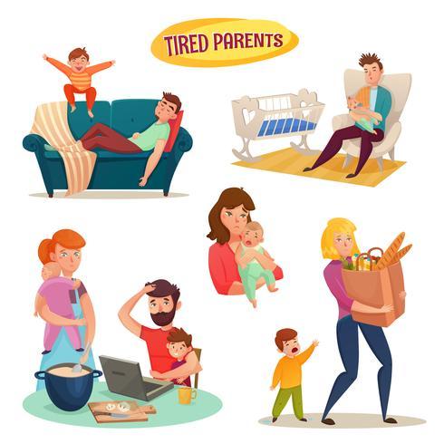 Vermoeide ouders geïsoleerde decoratieve elementen vector