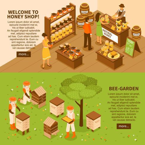 Honey Yard Isometrische Banners Set vector