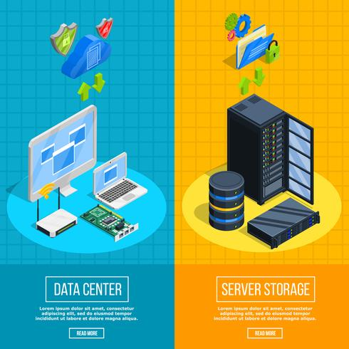 Server hardware verticale banners vector