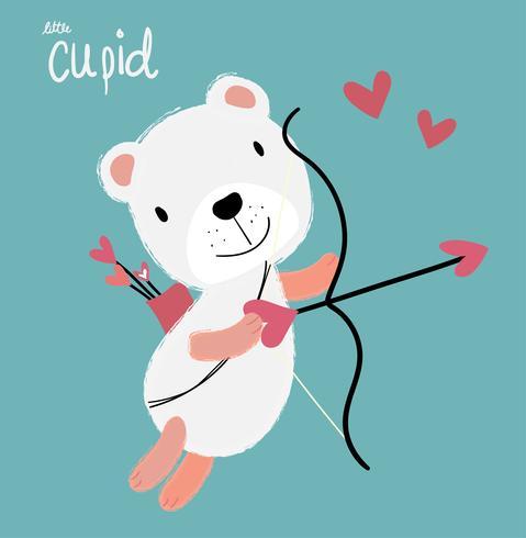schattige cupid witte fulffy beer vliegen met hart pijl vector