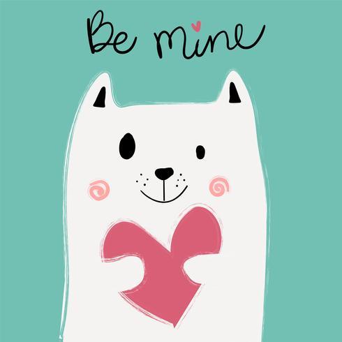 schattige witte kat met roze hart op mint achtergrond, idee voor kaart vector