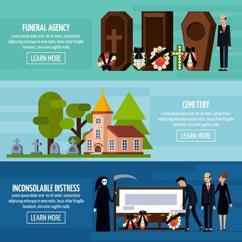 Begrafenisdiensten vlakke bannerset vector