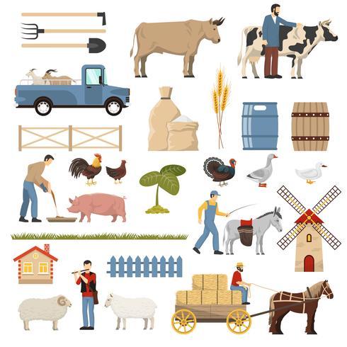 verzameling van veehouderijelementen vector