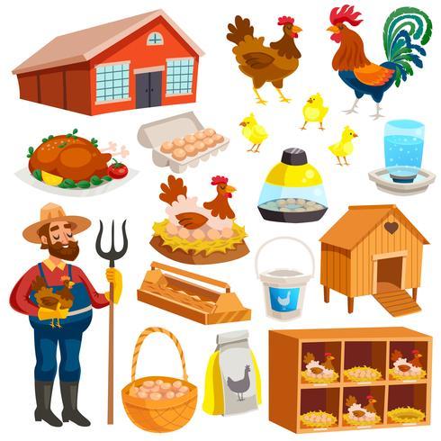 Poultry Farm Elements Set vector