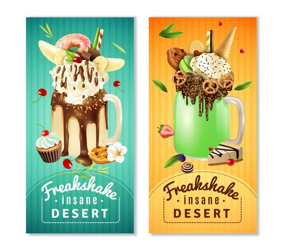 Extreme Freakshake Insane Dessert Banners Set vector