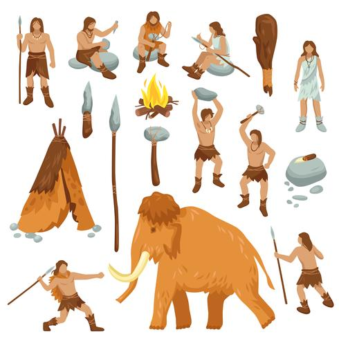 Primitieve mensen platte Cartoon Icons Set vector