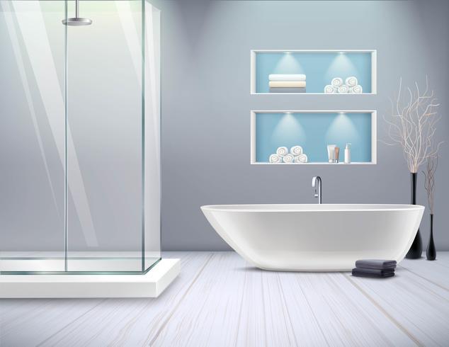 Realistisch badkamersbinnenland vector