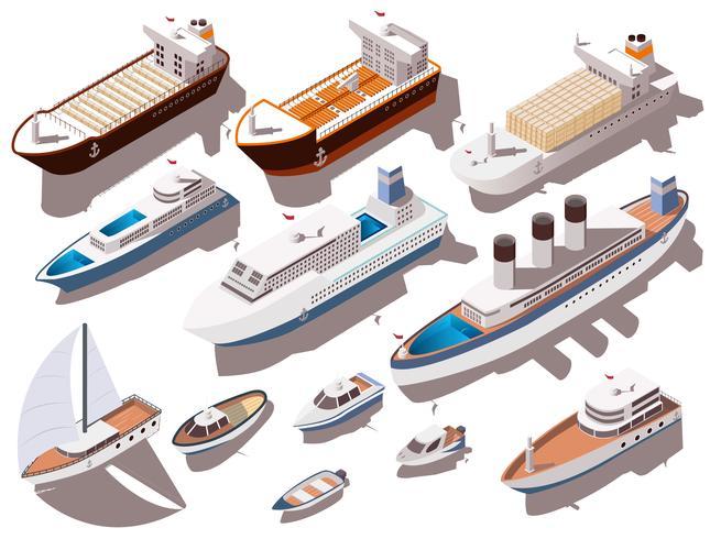 Isometrische set schepen vector