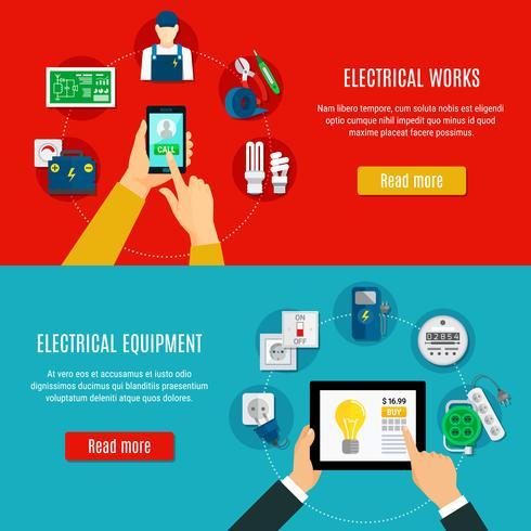 Elektrische apparatuur en elektricien horizontale banners vector