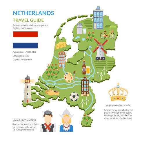 Nederland kaart platte Infographics vector