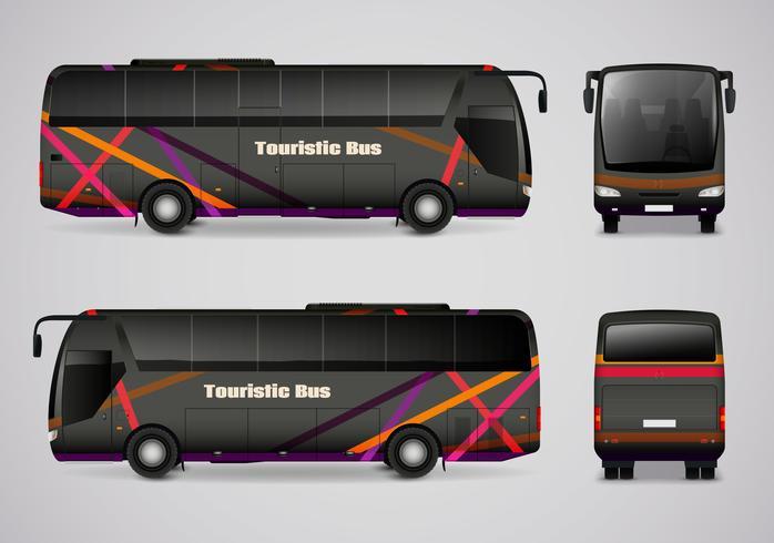 Toeristische bus vanaf alle kanten vector