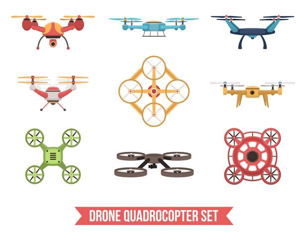 drone quadrocopter set vector