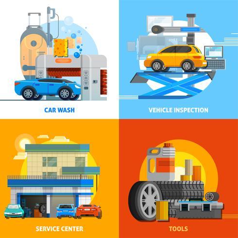 Auto Service 2x2 ontwerpconceptenset vector