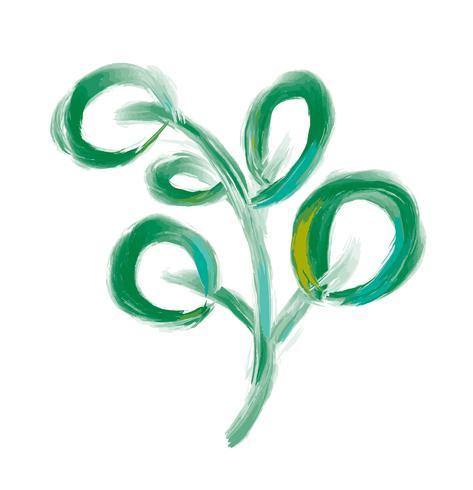 Vector ontwerper bladelement op witte achtergrond. Het groene bos natuurlijke kruid van het kunstgebladerte in waterverfstijl. Decoratieve schoonheids elegante illustratie voor ontwerp