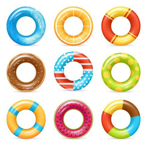 Realistische kleurrijke leven ringen instellen vector