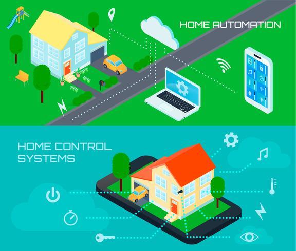 slimme huis isometrische banners instellen vector