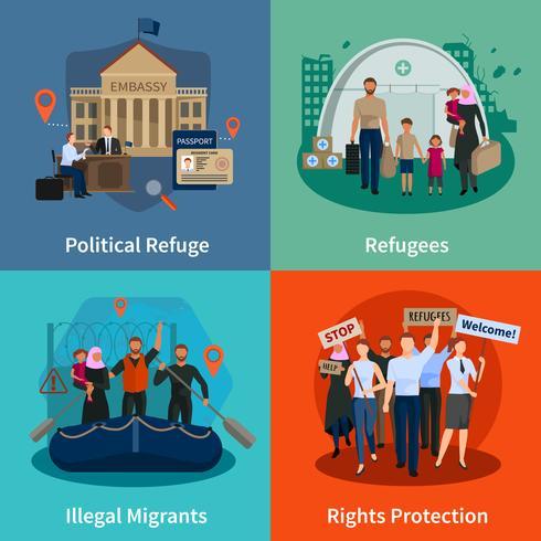 staatloze vluchtelingen 2x2 ontwerpconcept vector