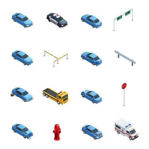 Auto-ongelukken isometrische Icons Set vector