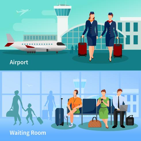 Luchthaven mensen platte composities vector