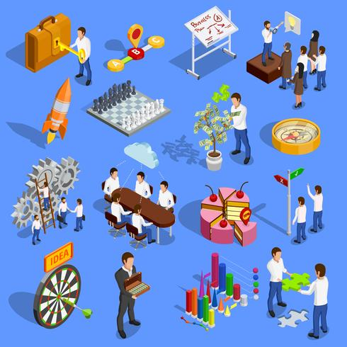 Bedrijfsstrategie Icons Set vector