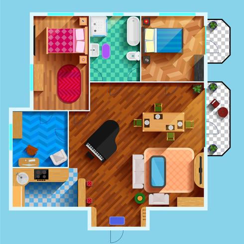 Architecturale plattegrond vector