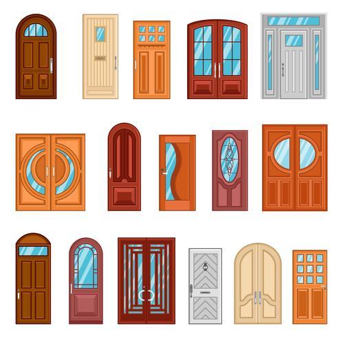 Set van gedetailleerde kleurrijke voordeuren vector