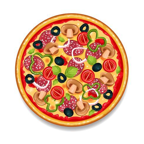 Kleurrijke ronde smakelijke pizza vector