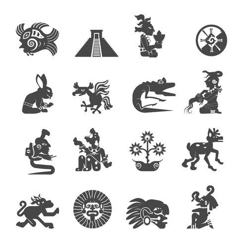 Maya-symbolen vlakke pictogrammen instellen vector