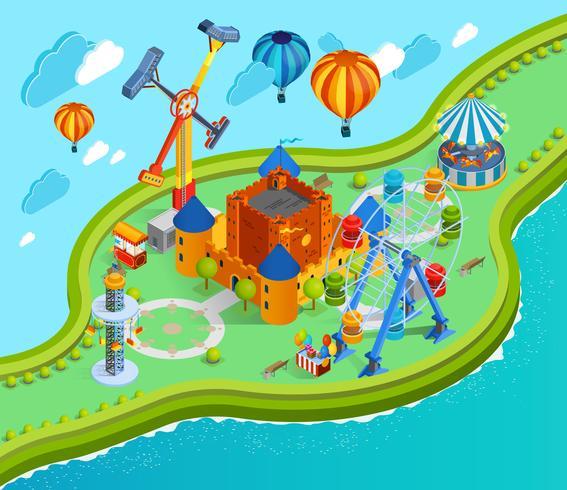 Pretpark Isometrische Cartoon Samenstelling vector