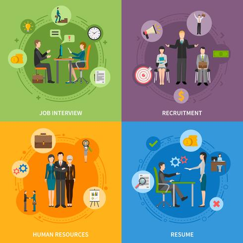 recruitment hr people 2x2 icons set vector