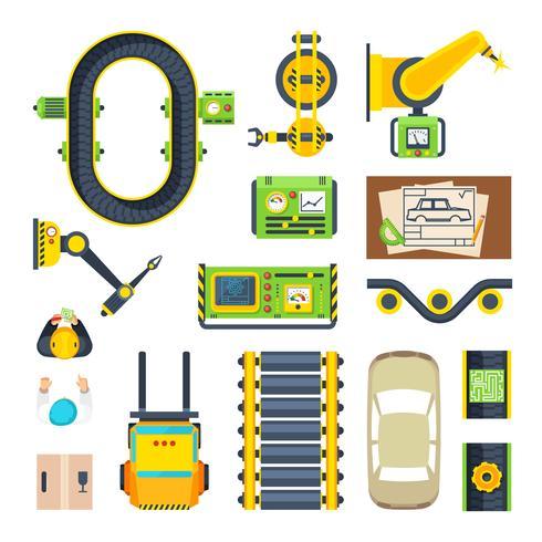 Productielijn elementen Icon Set vector