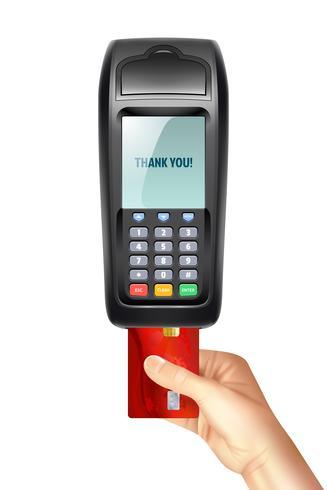 Betalingsterminal met ingevoegde creditcard vector