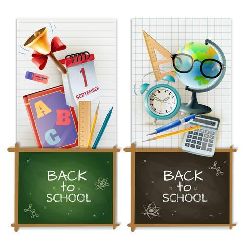School klaslokaal accessoires 2 verticale banners vector