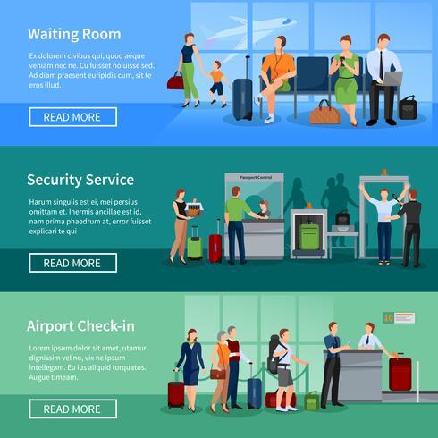 Luchthaven mensen platte banners vector
