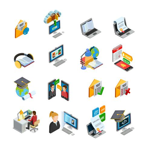 E-learning isometrische Icons Set vector