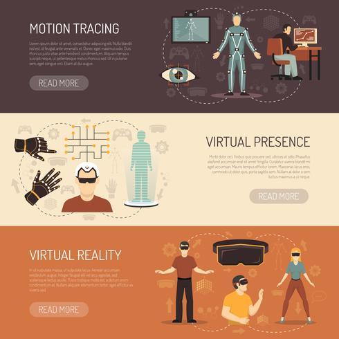 Banners voor virtuele realiteitsspellen vector