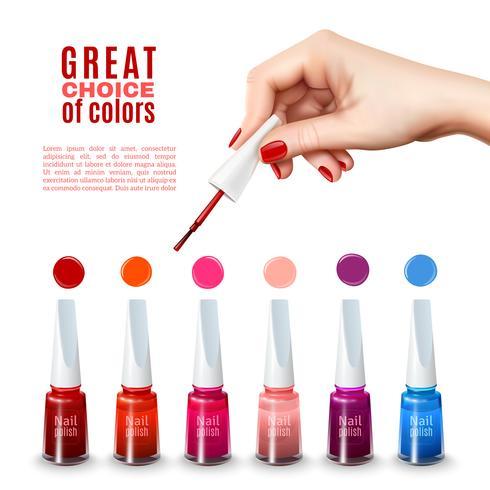 Beste nagellak kleuren realistische poster vector