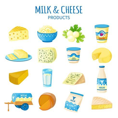 Melk en kaas Icons Set vector